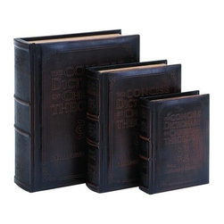 Benzara - Dictionary of Theology Book Box Set in Smooth Leather - Dictionary of Theology Book Box Set in Smooth Leather. A marvelous Set of book boxes to keep all your little secret treasures hidden, for only you to find them.
