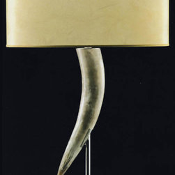 Italian Horn Lamp, Single Horn - A great lamp can make any table look like something special. We'd use this beside an oversize, cushy armchair for curling up with a throw and reading.