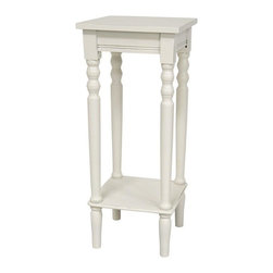 "Oriental Furniture - 28"" Classic Square Plant Stand - White - A well-built, classic square planter stand. Scored apron and Shaker style square top, with a sturdy, practical lower shelf to reinforce the lathed legs. Display a house plant, vase with fresh or dry flowers, or a beautiful statue, figurine, or collectable."