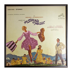 "Glittered Sound of Music Album - Glittered record album. Album is framed in a black 12x12"" square frame with front and back cover and clips holding the record in place on the back. Album covers are original vintage covers."