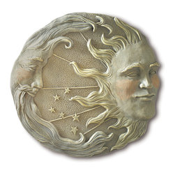 Koolekoo - Celestial Wall Plaque - Intricate details lend astral glory to this starry stone-look moon and sun plaque.