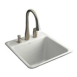 """KOHLER - KOHLER K-6656-3-0 Park Falls Tile-In Utility Sink with Three-Hole Faucet Drillin - KOHLER K-6656-3-0 Park Falls Tile-In Utility Sink with Three-Hole Faucet Drilling in WhiteThe smaller size of the Park Falls laundry sink makes it a perfect fit for compact spaces. Constructed of durable KOHLER(R) Cast Iron, this model offers versatile installation options.KOHLER K-6656-3-0 Park Falls Tile-In Utility Sink with Three-Hole Faucet Drilling in White, Features:• 20""""L x 21""""W"""