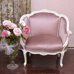 Sweet Petite Bergere in Rose Plum Velvet - This lovely bergere comes newly upholstered in a lovely purple/pink velvet. The frame is painted in our popular white. Perfect for any shabby chic style home!