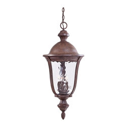 """Minka Lavery - Traditional Ardmore 36"""" High Rust Hanging Outdoor Light - Give your house a fresh feel with this outdoor light. A handsome rust finish is paired with traditional style for a look that matches any home. From the Minka Lavery Ardmore collection. Vintage rust finish hanging outdoor light. Clear hammered glass. Takes five 60 watt candelabra bulbs (not included). Includes chain. 36"""" high. 15 1/2"""" wide.  Vintage rust finish hanging outdoor light.  Clear hammered glass.  Takes five 60 watt candelabra bulbs (not included).  Includes chain.  Damp location rated only.  36"""" high.  15 1/2"""" wide."""
