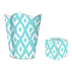 "Marye Kelley - Marye Kelley Aqua Ikat Decoupage Wastebasket with Optional Tissue Box, 12"" Fl - This is a handmade decoupage wastebasket with optional tissue box.  All items are handmade in the USA.  There are three different styles available.  There is the 12"" Fluted Tin Design, the 11"" Square Design with a flat top or the 11"" Square design with a scalloped top.  Coordinating tissue boxes may also be made. Please note all items are custom made and may not be returned."