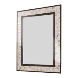 Quoizel - Quoizel MY430241ML Monterey Mosaic Traditional Rectangular Mirror - The lovely mosaic design on the glass shades is made from genuine pen shell, bringing the beauty of nature into your home. The playful curls of the metal body add a whimsical element to the overall style. Its looks as wonderful in a beach house as it does in a modern loft.
