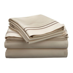 "Egyptian Cotton 800 Thread Count Embroidered Sheet Set - California King - Ivory - Bring a touch of elegance to your bedroom with this Egyptian Cotton 800 Thread Count Embroidered Sheet Set. This sheet set features a minimalistic but magnificent design consisting of embroidered colored lines atop sateen solid colored fabric creating an updated look to a classic design. Each set includes (1) Fitted Sheet: 72""x84"", (1) Flat Sheet: 108""x102"", and (2) Pillowcases: 20""x40""."