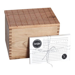 Richwood Creations - Heirloom Recipe Box With Cards - Herringbone Pattern - We wanted to create the perfect recipe box, with a well thought out and designed recipe card set to accompany it. Collaborating alongside Emily of The Oyster's Pearl, she created double-sided recipe cards in a timeless style to go with our well-crafted recipe box that you would want to proudly gift, or display for yourself. One that would be built to last, and to hand down for generations. With the innovation of the lid to be flipped over and double as a recipe card holder with a slightly angled slot to prop up your favorite recipe for easy reading. Perfect as a wedding, bridal shower, anniversary, or housewarming gift, or a great addition to your own kitchen! Designed and engraved with a herringbone pattern, the lid has a lip on the bottom to fit perfectly within the top of the box. This recipe box fits standard 4x6 cards. Finished with a clear, satin coat.