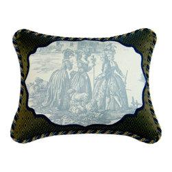 Metrohouse Designs - Exclusive Designer Toile Pillow - Companion - 100% cotton, cream background blue, Superb Toile