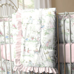 Pink Over the Moon Toile Crib Comforter - Front of comforter features Nursery Rhyme Toile, backed with Pink Minky Chenille, and edged with Pink Circles ruffled trim.
