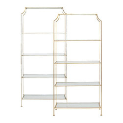 Worlds Away - Chloe five shelf etagere-gold - Gold leafed Etagere w. clear glass shelves.