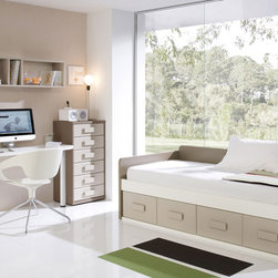 CR 1219 Kids Bedroom Set - The Kids Bedroom Set includes: 6-Drawer Chest w/Soft Closing Mechanism, Desk with Shelves, Top Shelf, Twin Size Bed and Twin Size Wooden Slats Frame.