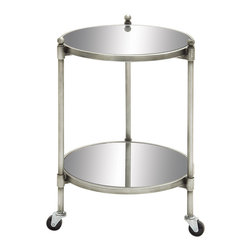 Simple and Exquisite Metal Glass 2-Tier Trolly - Description: