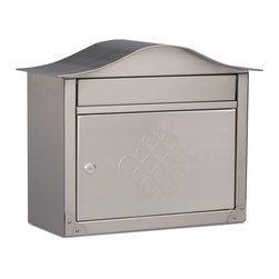 Architectural Mailboxes - Peninsula Locking Wall Mount  Mailbox Satin Nickel with Embossing - With striking features and superior craftsmanship Architectural Mailboxes' Peninsula locking wall mount mailboxes incorporate style, function and elegance to the entrance of every home.   Seamlessly combining form and function, the collection features large incoming mail slots, spacious storage compartments and locking access doors.  Equipped with stainless steel scalped lock with dust shutter and two keys.