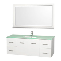 Wyndham - Centra Vanity Single 60in. in White w/ Green Glass Top & Square sink - Simplicity and elegance combine in the perfect lines of the Centra vanity by the Wyndham Collection. If cutting-edge contemporary design is your style then the Centra vanity is for you - modern, chic and built to last a lifetime. Available with green glass, white carrera marble or pure white man-made stone counters, and featuring soft close door hinges and drawer glides, you'll never hear a noisy door again! The Centra comes with porcelain, marble or granite sinks and matching mirrors. Meticulously finished with brushed chrome hardware, the attention to detail on this beautiful vanity is second to none.