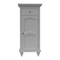 Elegant Home Fashions - Versailles Floor Cabinet with 1 Door and 1 Drawer - The Versailles Floor Cabinet with One Door and Drawer from Elegant Home Fashions features a white finish that offers a vintage look.   This cabinet features a door panel with exquisite engraving and beveled molding. This unit offers plenty of storage space with one interior adjustable shelf making it easy to store items of different heights.  The  drawer allows for easy open and close operation for smaller personal products.  This cabinet comes with assembly hardware.