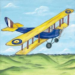 RR - Boys Yellow Airplane Kids Framed Art - Boys Yellow Airplane Kids Framed Art