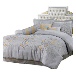 Bed Linens - Silver Linen Oversized 7-Piece Comfor Set, Queen-7PC-Set, Silver Linen - 7 Piece Luxury Bedding Set The colors of this set are combination of Silver Linen with brown stitching and beige suede leaf pattern stitched on face fabric 100% Linen Backing 100% Polyester