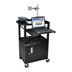 H. Wilson - Tuffy 24 in. Front Shelf Presentation Cart w Black Legs in Black - Includes lock with a set of two keys and three outlet 15 ft. cord. Monitor mount features 270 degree swivel, 180 degree tilt and adjustable height. Recessed chrome handle. 20 gauge steel cabinet. Recessed chrome handle. Locking steel cabinet panels fit firmly into the specially molded leg slots. Cable management access in back cabinet panel. Three shelves. 0.25 in. safety retaining lip and a raised texture surface to enhance product placement and ensure minimal sliding. 4 in. silent roll. Full swivel ball. 1.5 in. square black colored legs that will not chip, warp, crack, rust or peel. 4 in. heavy duty casters, two with locking brakes. High density polyethylene structural foam injection molded plastic shelves. Cord with cord management wrap and three cable management clips. Electrical attachment recessed to insure easy passage through doorways. Shelves and legs are made from recycled material. UL listed electrical assembly. Made from polyethylene and plastic. Made in USA. Minimal assembly required. Pullout shelf: 19.63 in. L x 15.63 in. W. Shelves: 24 in. L x 18 in. W x 1.5 in. H. Overall: 24 in. L x 18 in. W x 42.5 in. H. Warranty