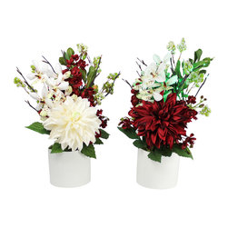 The Firefly Garden - Christmas Bouquet - Illuminated Floral Design, Set of Two - One in Each Color - A bold Dahlia is accented with white and red Vanda Orchids, along with Pittosporum in a white ceramic textured vase.  This elegant bouquet is illuminated by warm LED branch lights available in red or green.