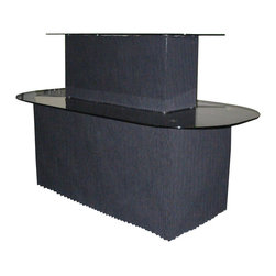Dainolite - Dainolite GCT-111-BGL-BK Black Glass/Black Graphite Display Table - Dainolite GCT-111-BGL-BK Black Glass/Black Graphite Display Table