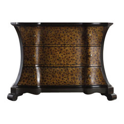 Hooker Furniture - Diva Leopard Chest - Release your wild side with this leopard motif chest of drawers. Its ample drawers and curved lines offer an exotic shape, while the neutral black and brown tones promise a purr-fect catch for any interior decor. Solid hardwood construction ensures a lifelong addition to your home.