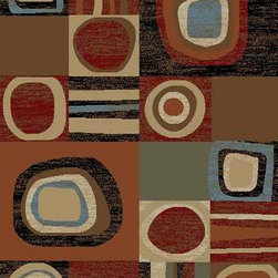 Ottomanson - Multi-Color Contemporary Abstract Design Rug - Royal Collection offers a wide variety of machine made modern and oriental design area rugs with durable, stain-resistant pile in trendy colors.