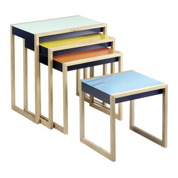 Bauhaus Nesting Tables - Designed by Josef Albers, these vibrant and functional nesting tables are a wonderful way to brighten up a room and provide every table surface you could possibly need.