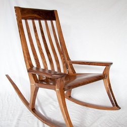 HGrosse Woodsmiths - The Single Wide Rocking Chair - This solid wood rocking chair is handmade in Santa Barbara, California. It is built from domestic Walnut with domestic maple accents. The joinery used in these rockers is both traditional and contemporary for ideal strength and style. Each piece is finished using 5 coats of an oil blend with a wax topcoat creating a wonderfully tactile surface.