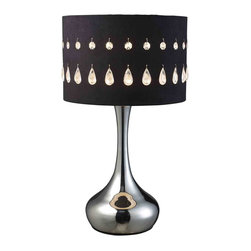 Dimond Lighting - Dimond Lighting D1828 Jubilee Chrome Table Lamp - Jubilee Table Lamp in Chrome with Black Laser Cut Faux Suede Shade and Crystals