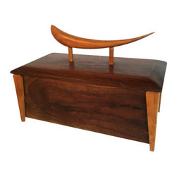 Solid wood box with hand carved finial - This hand crafted object of art is as beautiful as it is functional.  Notice how the richness of the walnut is enhanced by its cherry legs and finial.  It is the perfect gift for a very close friend.