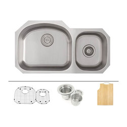 """TCS Home Supplies - 32 Inch Stainless Steel Undermount Double D-Bowl Offset Kitchen Sink FREE ACCESS - Premium 16 Gauge Stainless Steel Kitchen Sink Value Package.  Package comes with Matching Protective Grid Set, Deluxe Basket Strainer, Eco-Friendly Bamboo Cutting-board.  60/40 Offset Double Bowl.  Undermount Installation.  Brushed Stainless Steel Finish.  Dimensions 32"""" x 17-3/4"""" x 8"""" 