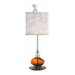 """Luna Bella - The Evangeline Table Lamp by BSEID - A hand painted leaf base balances the rich amber hand blown glass orb. The base continues to rise up interrupted with three cut crystal adornments. Artistic whimsy is added with a white soutash shade bordered with pearl beading. This is a stunning addition for any living space or office. 40 Watt. (LB) 8"""" diameter x 25"""" high"""