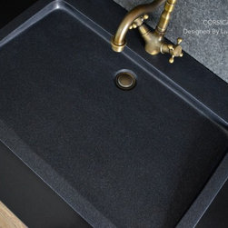 """Living'ROC - 27"""" Black Granite Stone Single Trough Bathroom Sink - CORSICA SHADOW - CORSICA SHADOW is as single trough or wall-mounted genuine black granite - 27.56' x 19.68' x 2.36' - Bathroom sink. Could you imagine one day remodeling your bathroom space with a large basin made from pure black granite sought after by specialists around the world? Discover the well-being provided by this beautiful piece CORSICA SHADOW sleek lines and Zen-style give a simple but chic look to your bathroom.Feel free to click on our facebook portfolio page to inspire yourself with our clients' projects...Simply our living'ROC style.Cut from a rare and invaluable black granite block you will love its generous size for a single bathroom sink. CORSICA SHADOW is a unique product in the U.S.A. You will not let anyone feel indifferent with this very design living'ROC creation designed by our french designer Florent LEPVREAU.This single basin is from the AQUADEOS range created from genuine black granite. Inspired by the model FOLE'GE SHADOW (better adapted to larger spaces) CORSICA SHADOW will beautify a smaller bathroom or a bigger project with two single.Adding stone elements will provide a modern serene and trendy atmosphere in your bathroom. Honed finishes and its very convenient slope will add practicality to beauty.if you wish to standardize your project you can choose among a wide range of black shower bases in black granite or black mongolia basalt (very similar color) carved from the same material (similar tones and finishes) as for example black granite models Spacium Shadow Palaos Shadow Quasar Shadow or Dalaos Shadow and mongolia black models Serena Black Corail BlackOur creation is delivered without an overflow drain and faucet (not included) - every US drains and faucets models you can find on the market will fit perfectly on Living'ROC vessel sink. This model is ready to use over the countertop. The photos you see online have been taken with extreme care by our Founder CEO - F"""