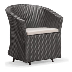 ZUO VIVA - Horseshoe Bay Chair Espresso - Make your space yours with the Horseshoe Bay. The Horseshoe Bay chair has a unique rocking mechanism that brings the fun and comfort to your space. While rocking with the chair you can keep your beverage still on this coffee table, fitted with a tempered glass top, keeping your drink stable even if you are not. This collection has an aluminum tube frame that is wrapped with a UV resistant synthetic weave that does not fray in any condition. Keeping you comfortable, this chair is accompanied with a foam core cushion that is water resistant. Make your space your own, the Horseshoe Bay is the perfect fit for your space.