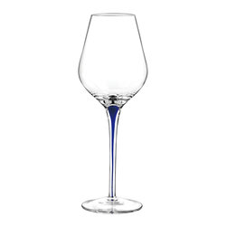 Qualia - Tempest Cobalt Wine Glasses, Set of 4 - A simple shape and hint of color give these Tempest Cobalt Wine Glasses their modern feel. Featuring clear glass and sleek stems with interior blue accents, these glasses have a minimalistic, polished look. Holds 16 ounces of liquid. Dishwasher safe.