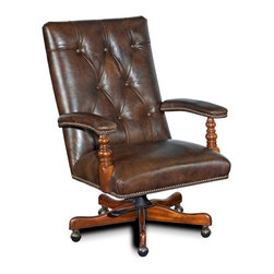 """Hooker Furniture - Old Saddle Cocoa Brown Executive Tilt Swivel Chair - White glove, in-home delivery!  For this item, additional shipping fee will apply.  Developed by one of America's premier manufacturers to offer quality furniture at affordable prices.  Each piece is meticulously hand-crafted using the most exquisite leathers in the world.  The EC364 Executive Swivel Tilt Chair is crafted using Old Saddle Cocoa Brown leather.  Frame Construction- Kiln dried, laminated, and select hardwoods that are precision machined for fluid and consistent shape.  Leg Finish: Old World.  Inside dimensions: 21"""" w x 20"""" d  Seat Height adjusts: 19"""" h to 21"""" h  Arm Height adjusts: 26"""" h to 28"""" h  Padding- Pattern cut urethane foam that is padded with felt polyester fibers, assuring the important qualities of comfort, loft, resilience, and good recovery.  Seat- A high resilient, high density foam core wrapped with virgin polyester fibers, assuring luxurious comfort and pleasing crown appearance.  This is then covered with a special ticking for pillow soft comfort.  Seat Back- Filled with precision cut foam and highly resilient polyester fibers or filled with 100% virgin polyester fibers enclosed in a special ticking for pillow soft comfort.  The color of fabric and leather may vary from that shown on screen."""