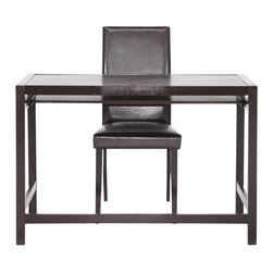 Wholesale Interiors - Astoria Dark Brown Modern Desk and Chair Set - This simple desk fits into any interior design scheme. Made of very dark espresso brown solid rubberwood, this modern writing desk is sold as a set with a matching dark brown wood and faux leather chair, which is padded with foam for your comfort. The desk features a single long drawer with lipped front edge, making it ideal for a computer keyboard. The Astoria Desk requires assembly and is made in Malaysia. To clean, dust with a dry cloth. Desk Dimension: 43.187 inches wide x 19.75 inches deep x 29.125 inches Height. Chair dimension: 17.25W x 15.5D x 38H, seat height : 18 inches, sliding shelf of the desk dimension: 39.625 W x 12.5 D x 1.75 H.