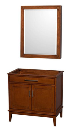 Wyndham Collection - 36 in. Eco-Friendly Bathroom Vanity with Medicine Cabinet - Faucet, sink and counter top not included. Two functional doors. Transitional style. 12 stage wood preparation, sanding, painting and hand-finishing process. Highly water-resistant low V.O.C. sealed finish. Practical floor-standing design. Deep doweled drawers. Fully-extending under-mount soft-close drawer slides. Concealed soft-close door hinges. Plenty of storage space. Metal exterior hardware with brushed chrome finish. Engineered to prevent warping and last a lifetime. Made from zero emissions solid birch hardwood. Light chestnut finish.