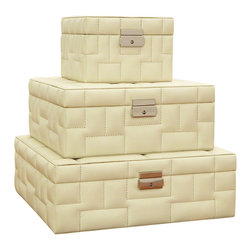 Global Views - Quilted Storage Box-Medium - Made of top grain, quilted protected leather.