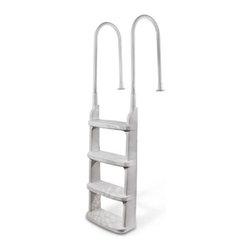 """Main Access Easy Incline Pool Deck Ladder - White - -Adjustable Aluminum Handrails (fits 48"""" to 54"""" pools)"""