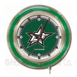 Holland Bar Stool - Holland Bar Stool Clk19DalSta Dallas Stars 19 Inch Neon Clock - Clk19DalSta Dallas Stars 19 Inch Neon Clock belongs to NHL Collection by Holland Bar Stool Our neon-accented Logo Clocks are the perfect way to show your team pride. Chrome casing and a team specific neon ring accent a custom printed clock face, lit up by an brilliant white, inner neon ring. Neon ring is easily turned on and off with a pull chain on the bottom of the clock, saving you the hassle of plugging it in and unplugging it. Accurate quartz movement is powered by a single, AA battery (not included). Whether purchasing as a gift for a recent grad, sports superfan, or for yourself, you can take satisfaction knowing you're buying a clock that is proudly made by the Holland Bar Stool Company, Holland, MI. Clock (1)