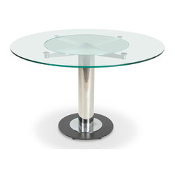 Zuri Furniture - Fiore Round Glass Dining Table - This ultra modern Fiore Collection features cool contemporary design details that will surprise and impress all your guests! The clean, futuristic design of our glass top Fiore contemporary dining table makes it ideal for a home dinette or even an office break room. Moreover, the durable chrome pedestal grounded by a genuine black granite base dresses to impress. Seats 4-5 comfortably. With inset lazy susan, Fiore is a modern twist on a classic round dining table.