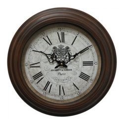 Yosemite Home Decor - 17 In. Circular Iron Wall Clock Distressed Brown Iron Frame - In your library or game room this handsome clock adds a note of distinction with black Roman numeral markers and intricately shaped hour and minute hands. The crest of two lions and a crown add yet another rustic luxe touch to this commanding piece.