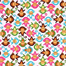 Fabric pink fabric with colourful monkeys Robert Kaufman