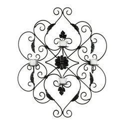Ivy and Leaf Scroll Wrought Iron Wall Candle Holder - 33.5H in. - Add a touch of Old World ambiance to your space with the Ivy and Leaf Scroll Wrought Iron Wall Candle Holder – 33.5H in.. The scrolled design of this wall hanging easily accents any room in your home, and the hefty wrought iron construction is sure to provide years of lasting enjoyment. Four little glass cups hold tea light candles to add a little romantic flicker in the evening hours, perfect for entertaining.