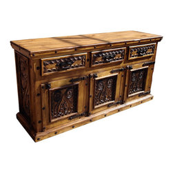 Mexican Artisans - Mexican Hand Carved Wood Buffet - Indeed Decor's exquisite Mexican Hand Carved Wood Buffet will become a focal point in your dining room.  This exquisite work of art is large enough to store all your entertaining essentials. Our well-crafted buffet measures 72″W x 44″H x 22″D.