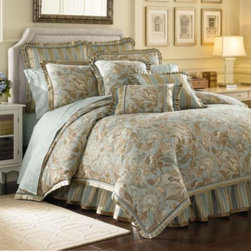 J. Queen New York - J. Queen New York Valdosta Aqua Comforter Set - A lovely Jacobean pattern in pale aqua and taupe adorns this printed bedding collection. A beautiful woven stripe complements the tastefully tranquil ensemble.