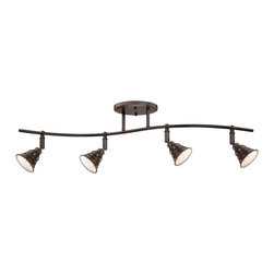 Quoizel - Quoizel Palladian Bronze Track - SKU: EVE1404PN - The Eastvale series pairs a vintage industrial look with modern sensibility. Attention to fine details and a rich Palladian Bronze finish allow this distinctive fixture suit a variety of interior design styles.