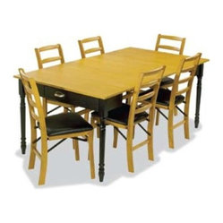 Stakmore Provincial Style Expanding Dining Set with Distressed Black Table Frame